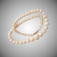 Natural Angel Skin Coral Bead Necklace