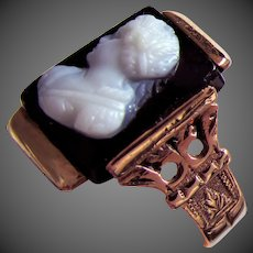 14K RG Banded Agate Cameo Ring Size 7