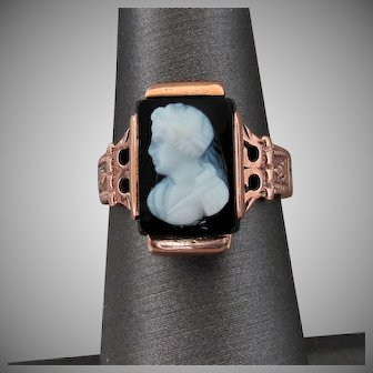 14K Rose Gold Banded Agate Cameo Ring Size 7