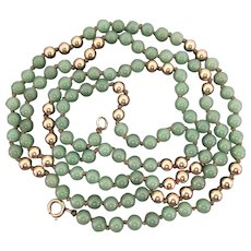 Jadeite Bead Necklace 42.5 Inches Long 12K GF Closure & Beads