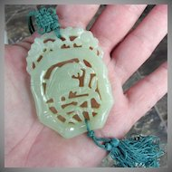 Early Celadon Jade Hand Carved Parrot Pendant / Necklace