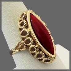 14K YG Dark Red Coral Ring Size 7 1/4