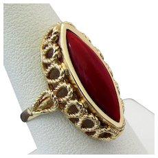 14K YG Dark Red Coral Ring Size 7.25