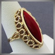 14K Dark Red Coral Ring Size 7.25