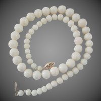 14K Gold White Coral Graduated Bead Necklace 16 1/4 Inches