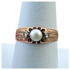 14K YG Antique Cultured Pearl Ring with Quartz  Accents - Size 8 3/4