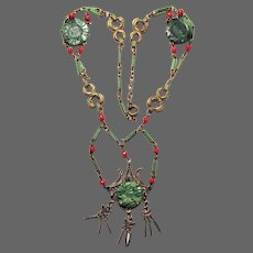 Antique Italian Jadeite and Red Coral Necklace
