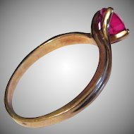 Circa 1930's - 50's 10K Yellow Gold Lab Grown Ruby Ring Size 7 1/4