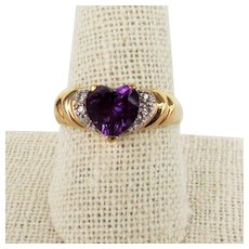14K YG Amethyst Heart Ring with Diamonds Size 10