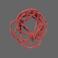 Triple Strand Natural Hand-Carved Salmon Coral Bead Necklace 16 1/2""