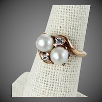 10K YG Cultured Pearl and Diamond Ring Size 5 3/4