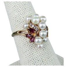 14K YG Ruby & Cultured Pearl Cluster Ring , Size 7 1/4