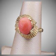 14K YG Pink Coral Ring, Size 7 1/4
