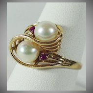 14K YG Cultured Pearl & Ruby Ring, size 8 1/2