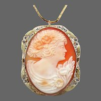 14K YG Carved Shell Cameo Pendant & Pin Combination
