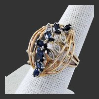 7.2 Grams, 14K YG Blue Sapphire & Diamond Ring Size 6 3/4