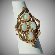 """9.2 Grams, 14K YG Opal Ring, Size 7 1/2 & 1 3/8"""" North/South"""