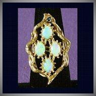 9.2 Grams, 14K YG Opal Ring, Size 7 1/2
