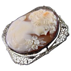 14K WG Finely Carved Cameo Pin Pendant Circa 1920's - 1930's