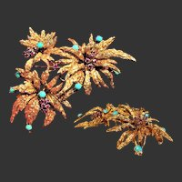 35.1 Grams, 18K YG Flower Brooch with Turquoise & Rubies