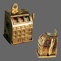 "6 Grams, 14K YG Slot Machine Charm - ""One Armed Bandit"""