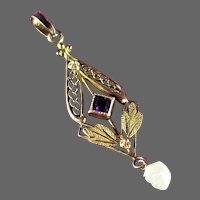 Antique Pendant with Amethyst Art Glass and Fresh Water Pearl