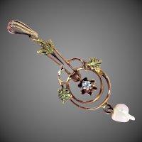 10K Multi Color Gold Antique Diamond and Natural Pearl Pendant, Circa 1900-1915