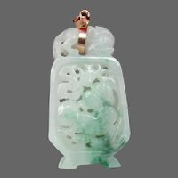 Reticulated Jadeite Pendant with Foo dog, 14K Bail - Sometimes Called Moss in the Snow