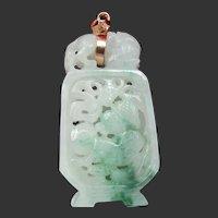 Reticulated Jadeite Pendant with Foo dog, 14K Bail, 13.3 Grams