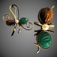 "14K YG ""WELLS"" Scarab Pin with Crysoprase, Tiger Eye and Cultured Pearl"