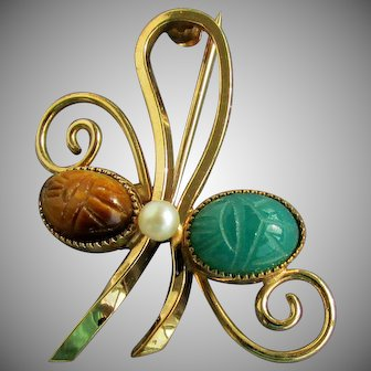 """14K YG """"WELLS"""" Scarab Pin with Crysoprase, Tiger Eye and Pearl"""