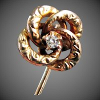 10K YG Floral Motif Love Knot Stick Pin with Diamond