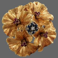 12 Grams, 18K YG Carl Bucherer Flower Brooch with Natural Rubies & Sapphires