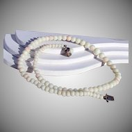 """Coral Bead Necklace - Creamy White with Angel Skin Blush 17 1/2"""""""