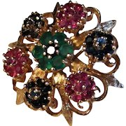 9.6 Grams, 14K YG Emerald, Ruby & Sapphire Brooch