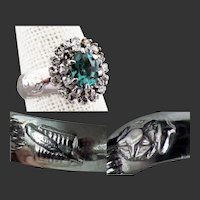 18K Antique WG Blue Spinel & Diamond Ring with Star & Feather Symbols, Size 7 1/2