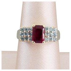 14K YG Ruby Red Rubellite Tourmaline Ring Size 8