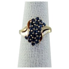 14K YG Bokeo Blue Sapphire Ring Size 6 1/4