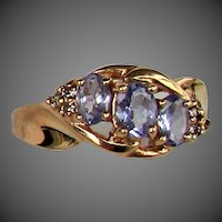 14K YG Tanzanite & Diamond Ring Size 6 1/4