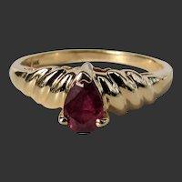 14K YG Clyde Duneier Ruby Ring, Size 5 3/4