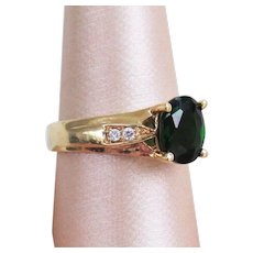 14K YG Chrome Diopside Ring with Diamonds Size 8 1/2
