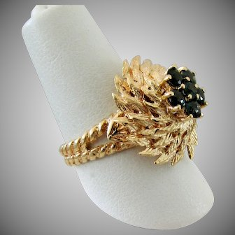 14K YG London Blue Topaz Ring Size 5 1/4