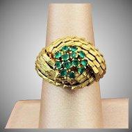 7.40 Grams, 18K YG Emerald Cluster  Ring Size 7 1/2
