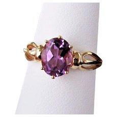 14K YG Amethyst Ring Size 7