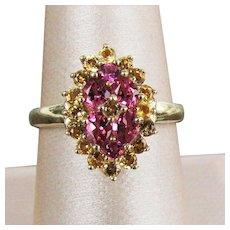 14K YG Pink & Yellow Tourmaline Ring, Size 8 1/4