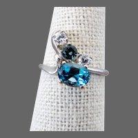 14K WG Blue Topaz, Aquamarine & White Beryl Ring Size 7