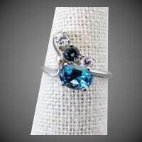 14K WG Blue Topaz, Aquamarine & White Beryl Ring Size 7