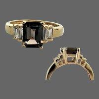 10K YG Emerald Cut Smoky Quartz Ring Size 7