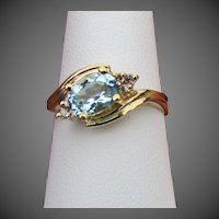 14K YG Natural Aquamarine Ring with Champagne Diamond Accents, Size 7 3/4