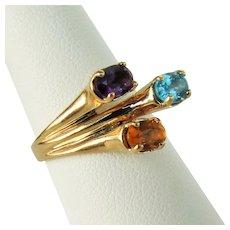 14K YG Multi Gemstone Ring Size 7 1/4 Circa 1980's